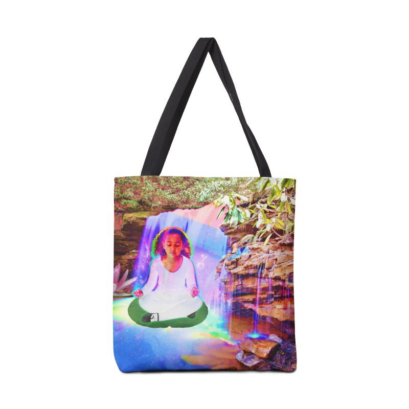 Young Girl Meditating Under a Waterfall Accessories Bag by InspiredPsychedelics's Artist Shop