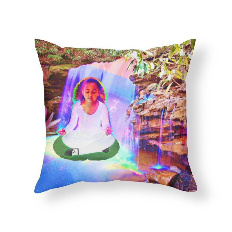 Young Girl Meditating Under a Waterfall Home Throw Pillow by InspiredPsychedelics's Artist Shop