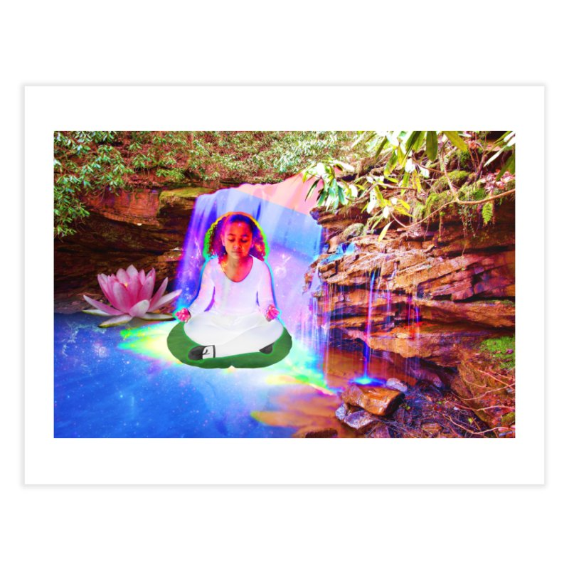 Young Girl Meditating Under a Waterfall Home Fine Art Print by InspiredPsychedelics's Artist Shop