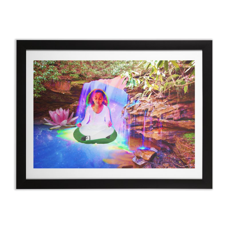 Young Girl Meditating Under a Waterfall Home Framed Fine Art Print by InspiredPsychedelics's Artist Shop