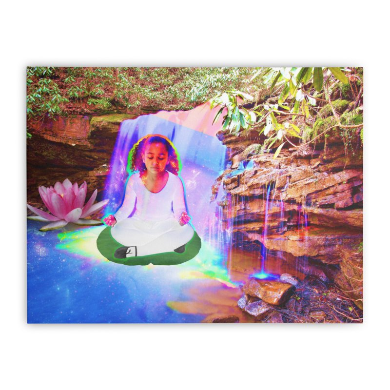 Young Girl Meditating Under a Waterfall Home Stretched Canvas by InspiredPsychedelics's Artist Shop