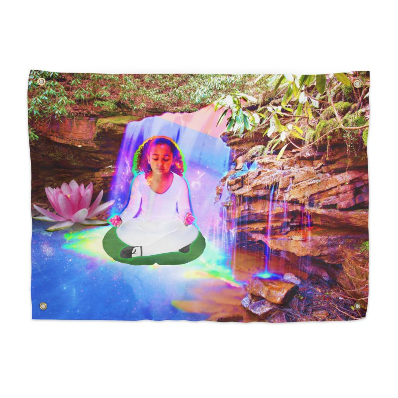 Young Girl Meditating Under a Waterfall Home Tapestry by InspiredPsychedelics's Artist Shop