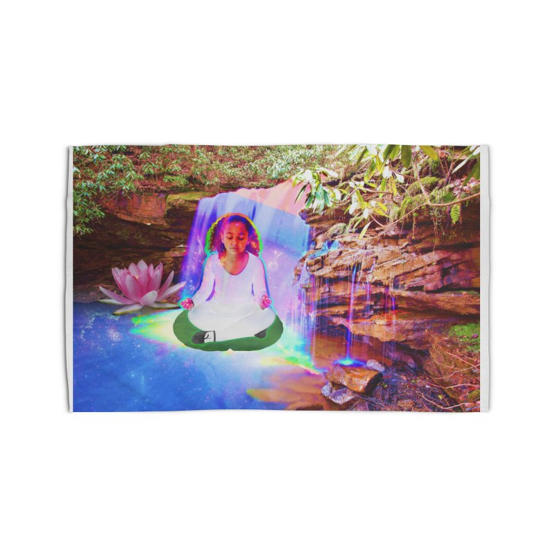 Young Girl Meditating Under a Waterfall Home Rug by InspiredPsychedelics's Artist Shop