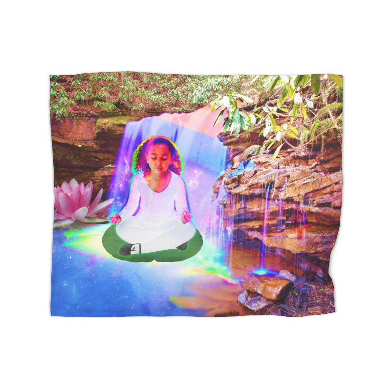 Young Girl Meditating Under a Waterfall Home Fleece Blanket Blanket by InspiredPsychedelics's Artist Shop