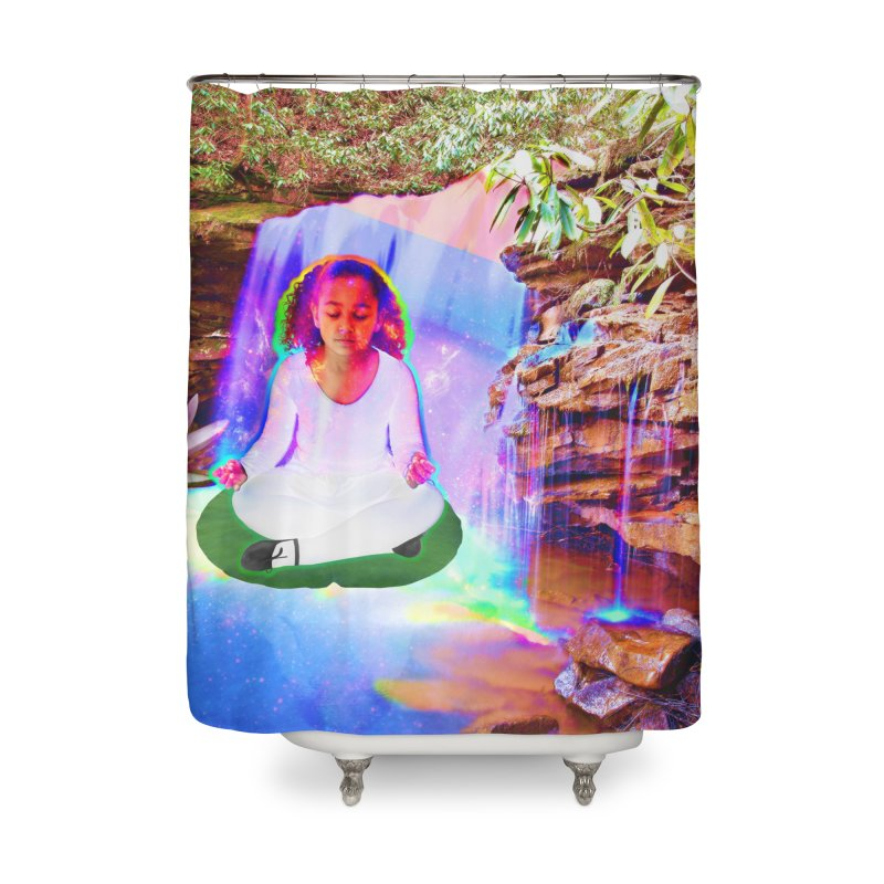 Young Girl Meditating Under a Waterfall Home Shower Curtain by InspiredPsychedelics's Artist Shop