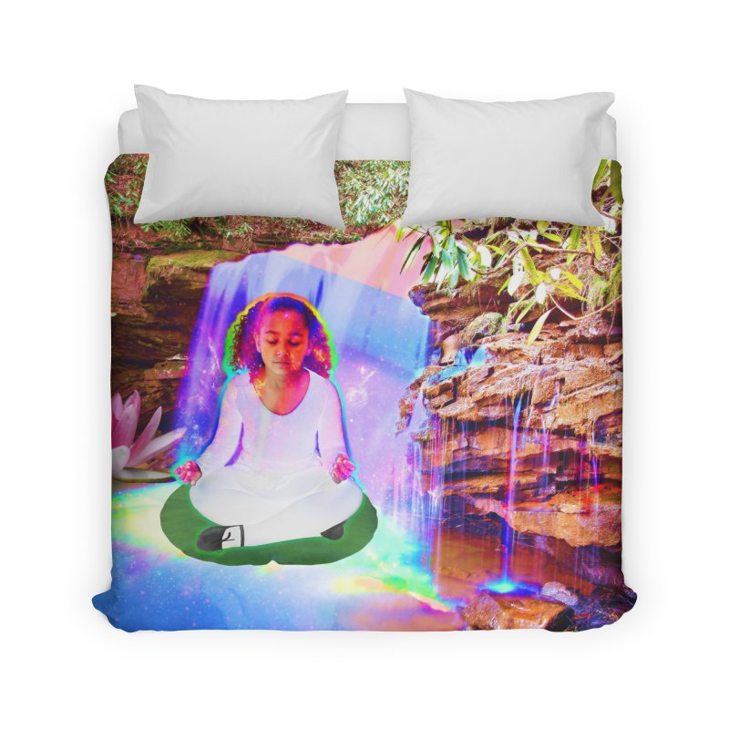Young Girl Meditating Under a Waterfall Home Duvet by InspiredPsychedelics's Artist Shop