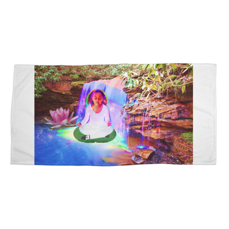 Young Girl Meditating Under a Waterfall Accessories Beach Towel by InspiredPsychedelics's Artist Shop