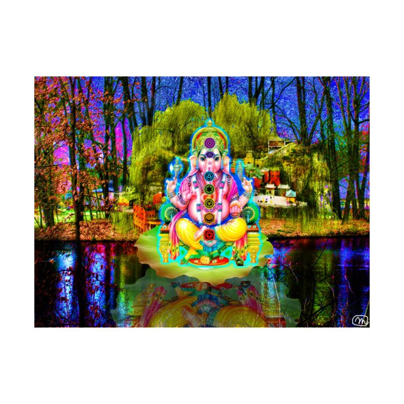 Lord Ganesha Meditating on a Lilly Pad with Willow Tree by InspiredPsychedelics's Artist Shop