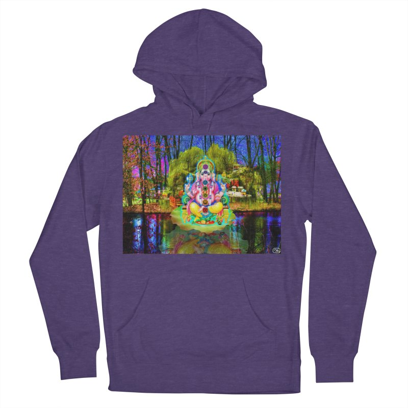 Lord Ganesha Meditating on a Lilly Pad with Willow Tree Men's French Terry Pullover Hoody by InspiredPsychedelics's Artist Shop