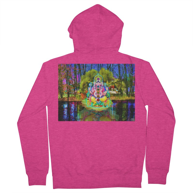 Lord Ganesha Meditating on a Lilly Pad with Willow Tree Women's French Terry Zip-Up Hoody by InspiredPsychedelics's Artist Shop