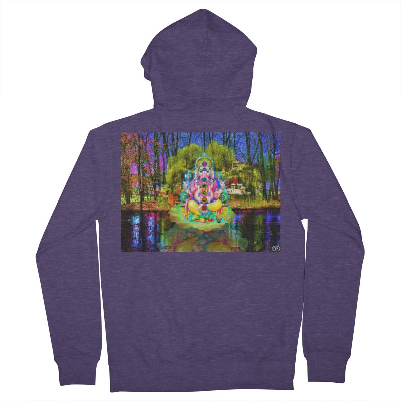 Lord Ganesha Meditating on a Lilly Pad with Willow Tree Men's French Terry Zip-Up Hoody by InspiredPsychedelics's Artist Shop