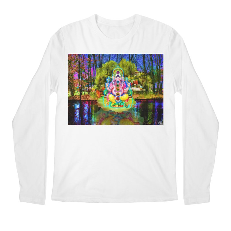 Lord Ganesha Meditating on a Lilly Pad with Willow Tree Men's Regular Longsleeve T-Shirt by InspiredPsychedelics's Artist Shop