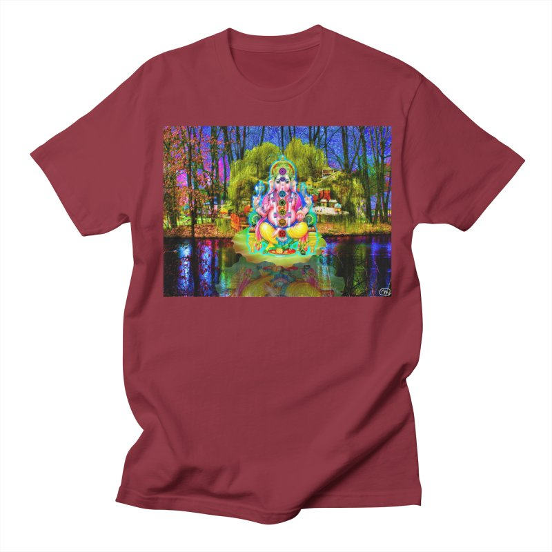 Lord Ganesha Meditating on a Lilly Pad with Willow Tree Men's Regular T-Shirt by InspiredPsychedelics's Artist Shop