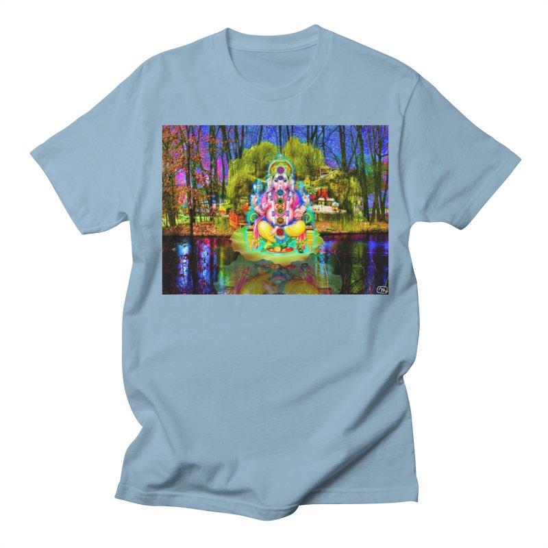Lord Ganesha Meditating on a Lilly Pad with Willow Tree Women's Regular Unisex T-Shirt by InspiredPsychedelics's Artist Shop