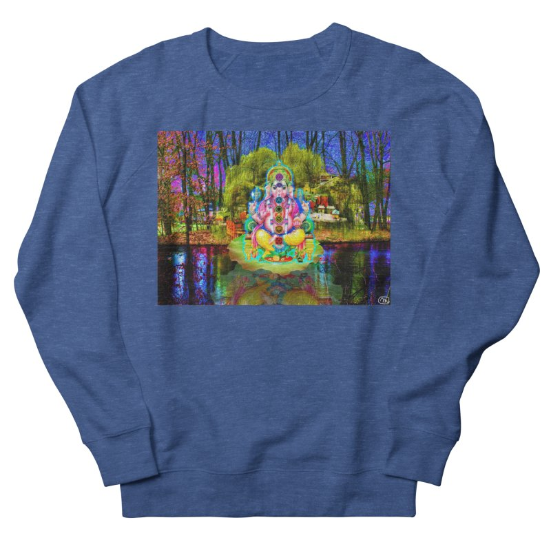 Lord Ganesha Meditating on a Lilly Pad with Willow Tree Women's French Terry Sweatshirt by InspiredPsychedelics's Artist Shop