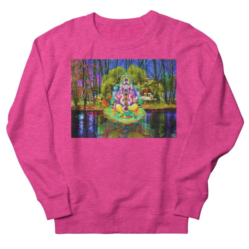 Lord Ganesha Meditating on a Lilly Pad with Willow Tree Men's French Terry Sweatshirt by InspiredPsychedelics's Artist Shop