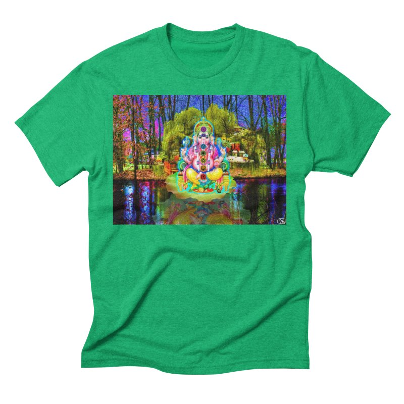 Lord Ganesha Meditating on a Lilly Pad with Willow Tree Men's Triblend T-Shirt by InspiredPsychedelics's Artist Shop
