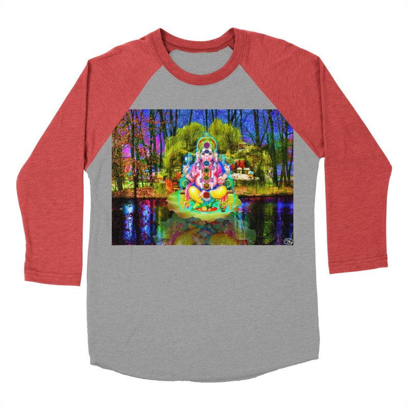 Lord Ganesha Meditating on a Lilly Pad with Willow Tree Women's Baseball Triblend Longsleeve T-Shirt by InspiredPsychedelics's Artist Shop