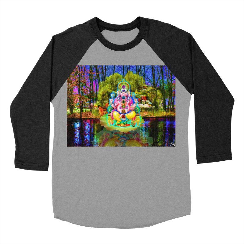 Lord Ganesha Meditating on a Lilly Pad with Willow Tree Men's Baseball Triblend Longsleeve T-Shirt by InspiredPsychedelics's Artist Shop