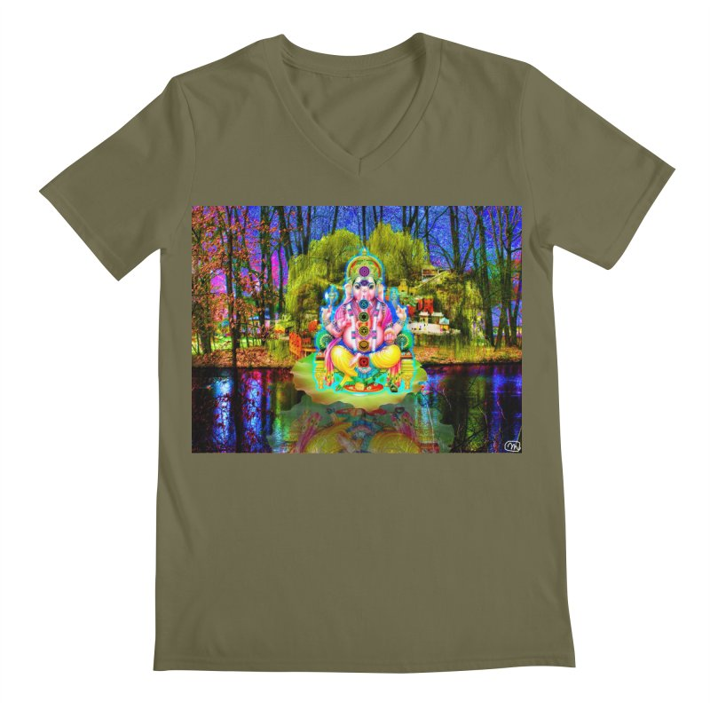 Lord Ganesha Meditating on a Lilly Pad with Willow Tree Men's Regular V-Neck by InspiredPsychedelics's Artist Shop