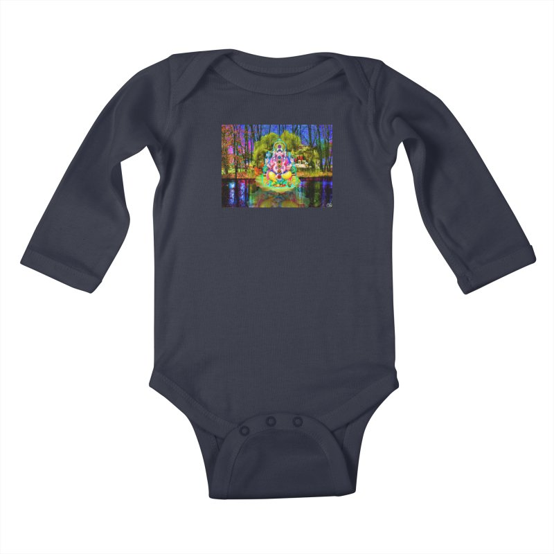 Lord Ganesha Meditating on a Lilly Pad with Willow Tree Kids Baby Longsleeve Bodysuit by InspiredPsychedelics's Artist Shop