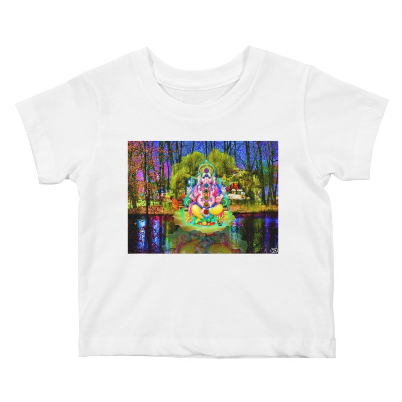 Lord Ganesha Meditating on a Lilly Pad with Willow Tree Kids Baby T-Shirt by InspiredPsychedelics's Artist Shop