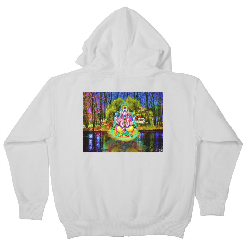Lord Ganesha Meditating on a Lilly Pad with Willow Tree Kids Zip-Up Hoody by InspiredPsychedelics's Artist Shop