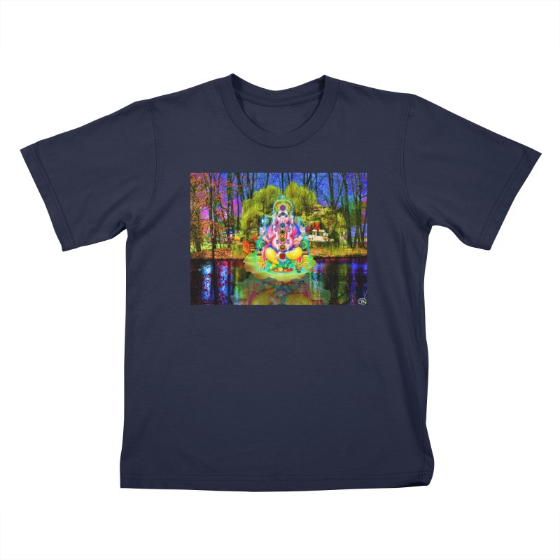 Lord Ganesha Meditating on a Lilly Pad with Willow Tree Kids T-Shirt by InspiredPsychedelics's Artist Shop