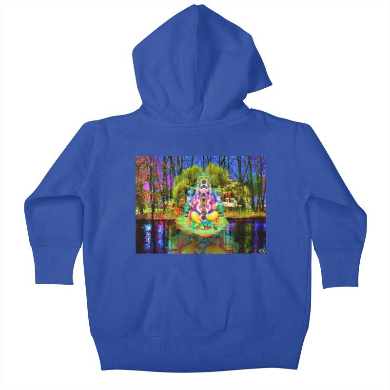Lord Ganesha Meditating on a Lilly Pad with Willow Tree Kids Baby Zip-Up Hoody by InspiredPsychedelics's Artist Shop