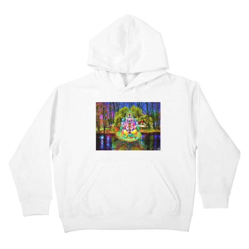 Lord Ganesha Meditating on a Lilly Pad with Willow Tree Kids Pullover Hoody by InspiredPsychedelics's Artist Shop
