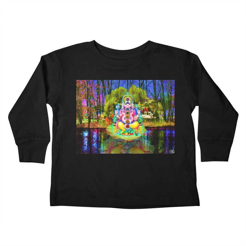 Lord Ganesha Meditating on a Lilly Pad with Willow Tree Kids Toddler Longsleeve T-Shirt by InspiredPsychedelics's Artist Shop