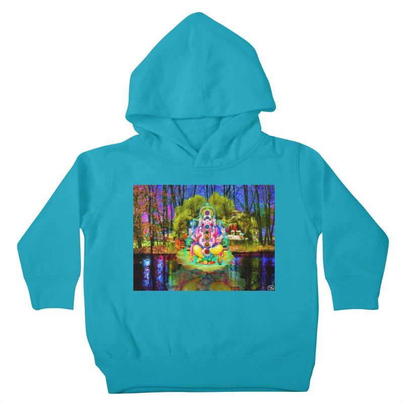 Lord Ganesha Meditating on a Lilly Pad with Willow Tree Kids Toddler Pullover Hoody by InspiredPsychedelics's Artist Shop