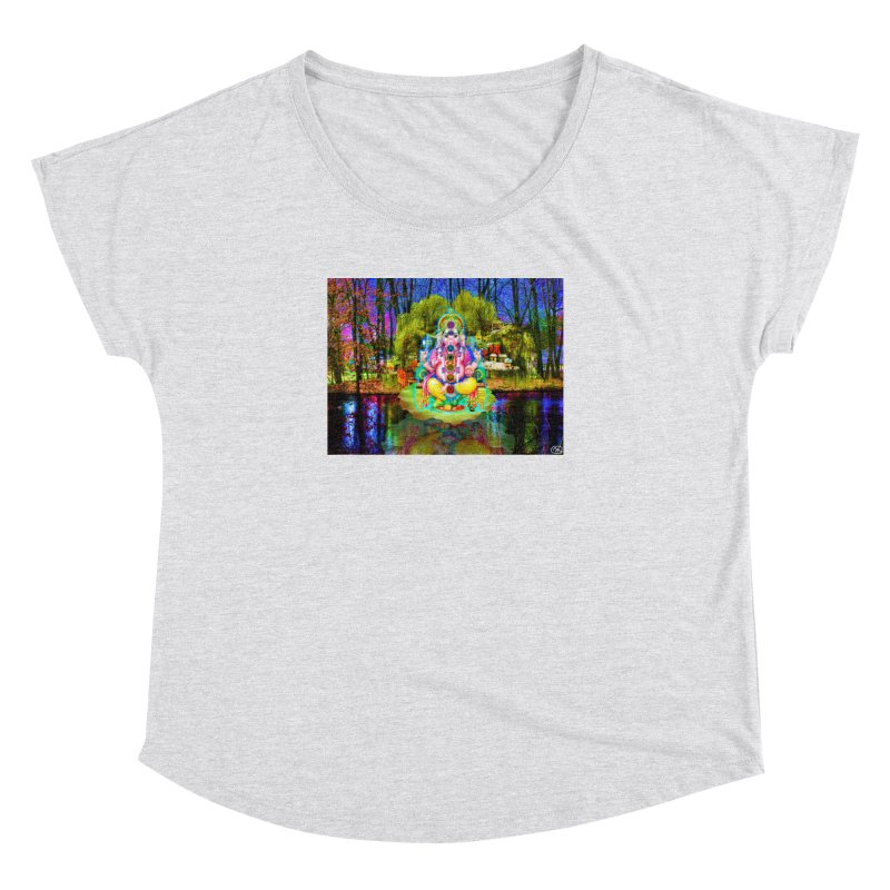 Lord Ganesha Meditating on a Lilly Pad with Willow Tree Women's Dolman Scoop Neck by InspiredPsychedelics's Artist Shop