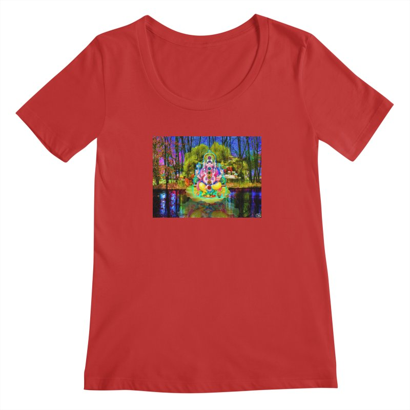 Lord Ganesha Meditating on a Lilly Pad with Willow Tree Women's Regular Scoop Neck by InspiredPsychedelics's Artist Shop