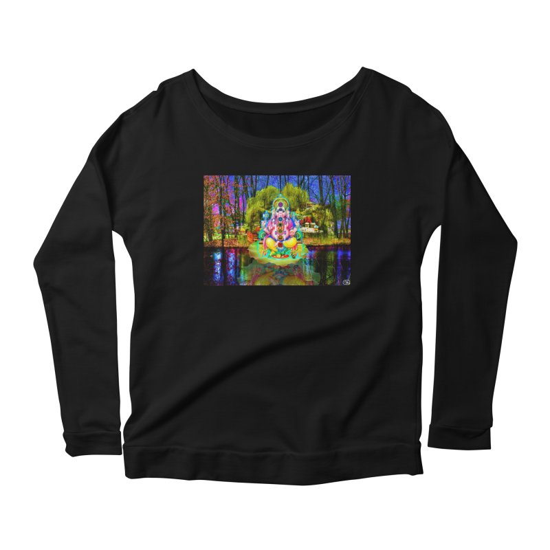 Lord Ganesha Meditating on a Lilly Pad with Willow Tree Women's Scoop Neck Longsleeve T-Shirt by InspiredPsychedelics's Artist Shop