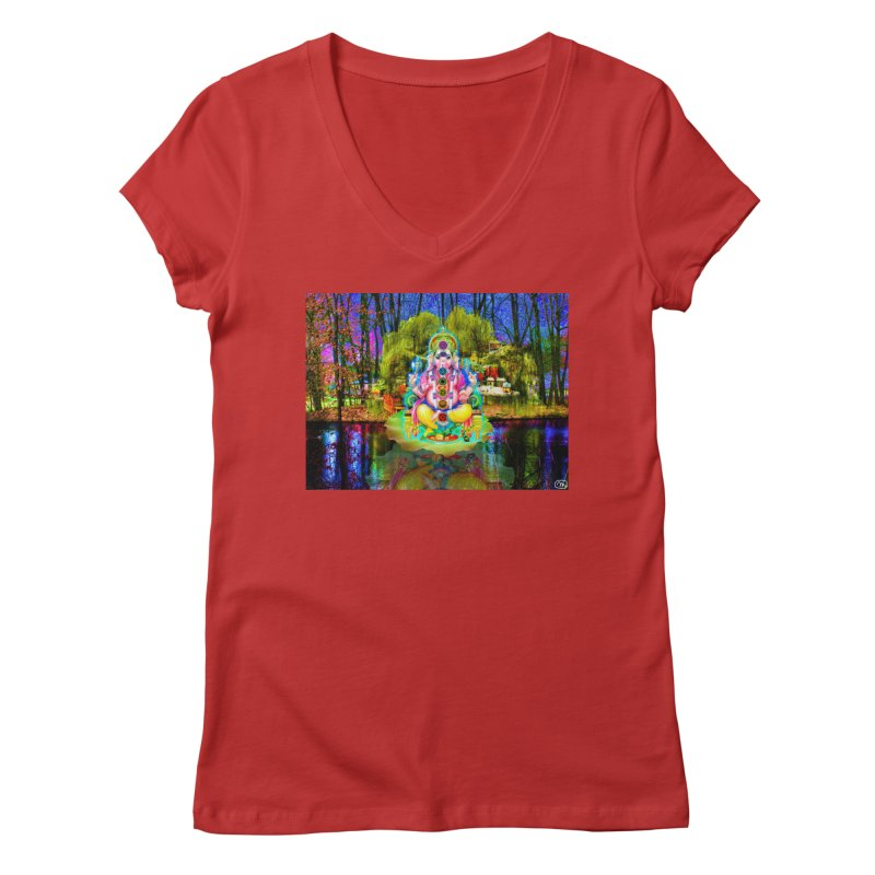 Lord Ganesha Meditating on a Lilly Pad with Willow Tree Women's Regular V-Neck by InspiredPsychedelics's Artist Shop