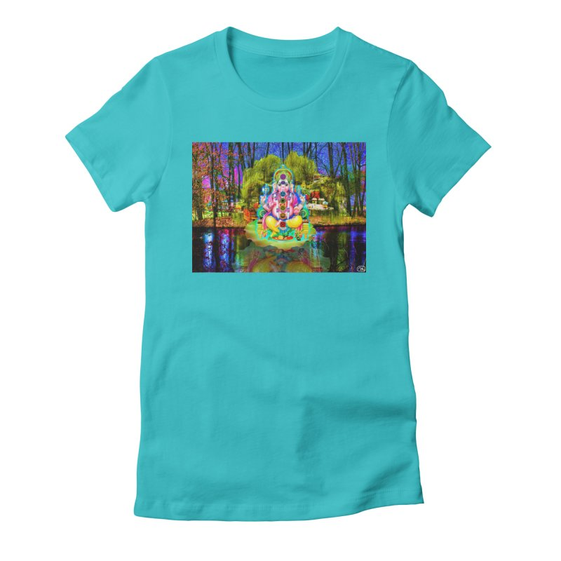 Lord Ganesha Meditating on a Lilly Pad with Willow Tree Women's Fitted T-Shirt by InspiredPsychedelics's Artist Shop