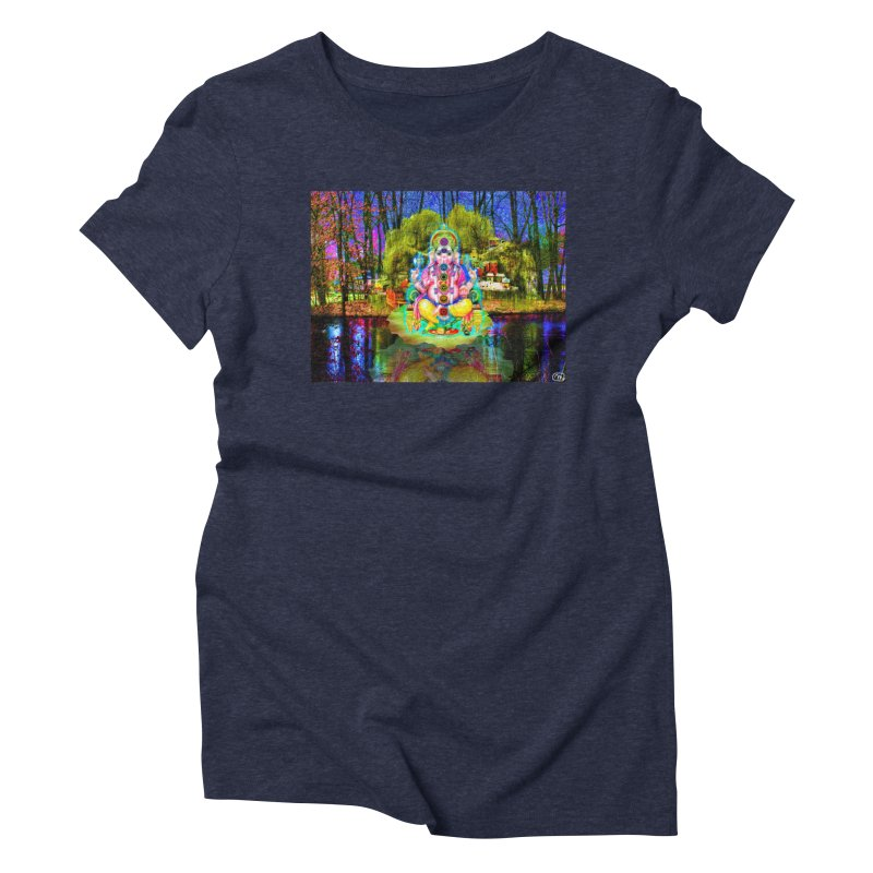 Lord Ganesha Meditating on a Lilly Pad with Willow Tree Women's Triblend T-Shirt by InspiredPsychedelics's Artist Shop