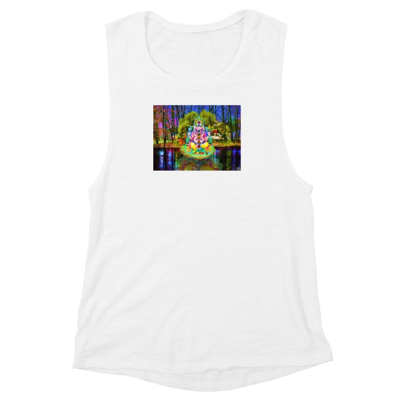 Lord Ganesha Meditating on a Lilly Pad with Willow Tree Women's Muscle Tank by InspiredPsychedelics's Artist Shop