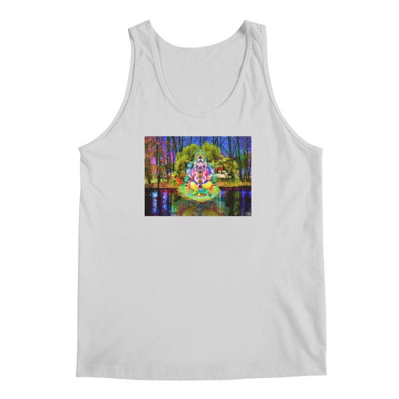 Lord Ganesha Meditating on a Lilly Pad with Willow Tree Men's Regular Tank by InspiredPsychedelics's Artist Shop