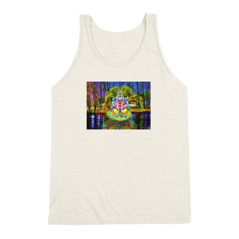 Lord Ganesha Meditating on a Lilly Pad with Willow Tree Men's Triblend Tank by InspiredPsychedelics's Artist Shop