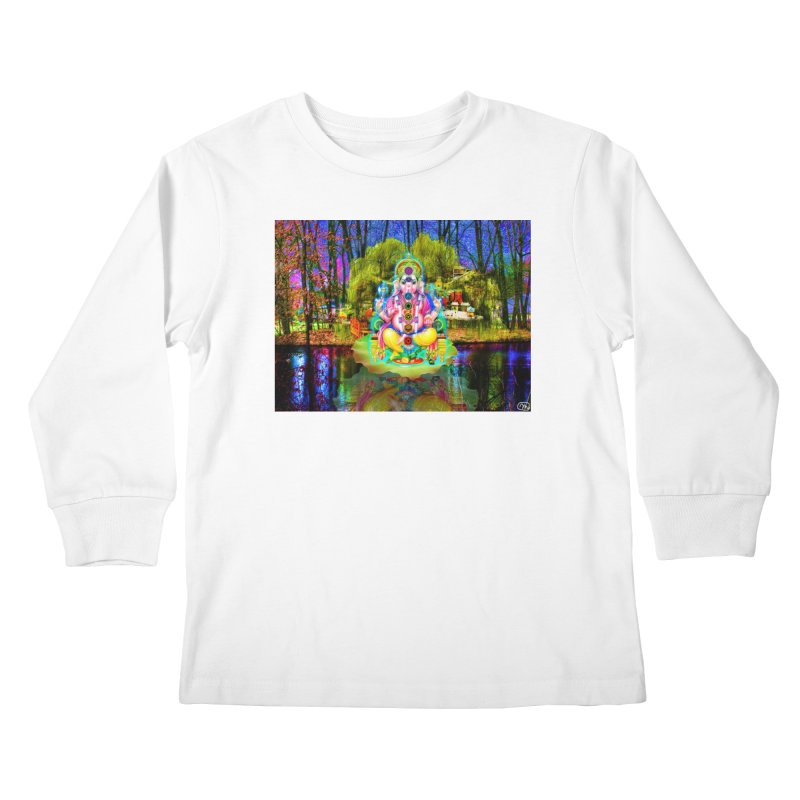 Lord Ganesha Meditating on a Lilly Pad with Willow Tree Kids Longsleeve T-Shirt by InspiredPsychedelics's Artist Shop