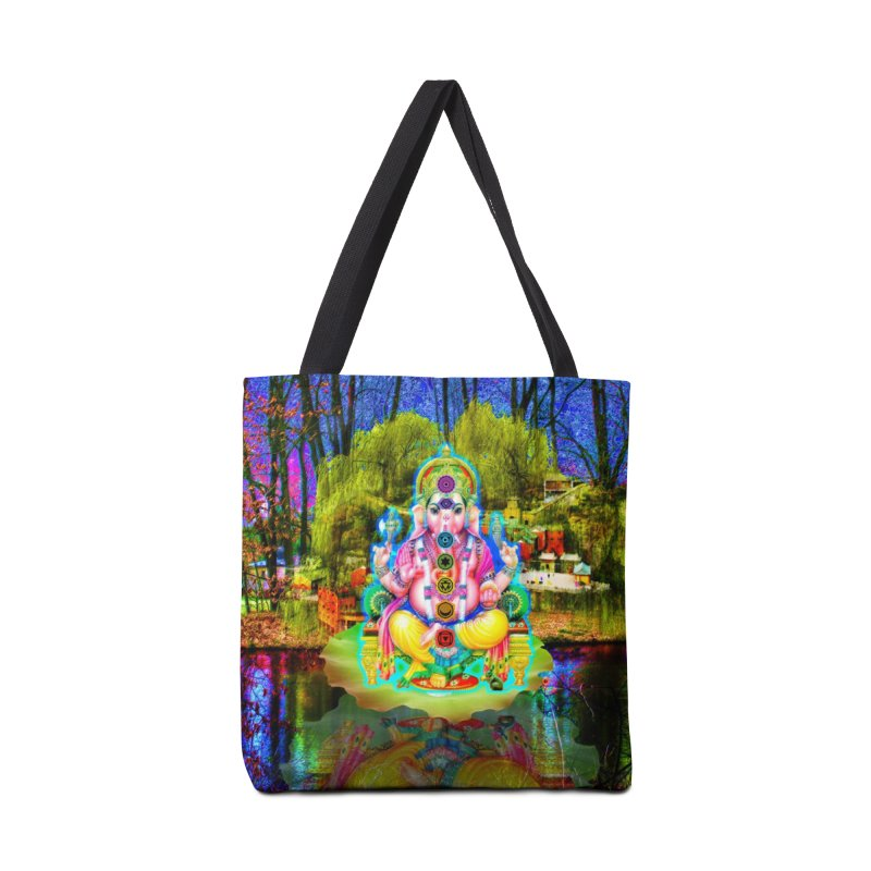 Lord Ganesha Meditating on a Lilly Pad with Willow Tree Accessories Bag by InspiredPsychedelics's Artist Shop