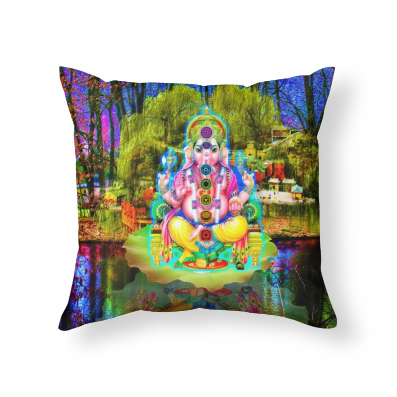 Lord Ganesha Meditating on a Lilly Pad with Willow Tree Home Throw Pillow by InspiredPsychedelics's Artist Shop