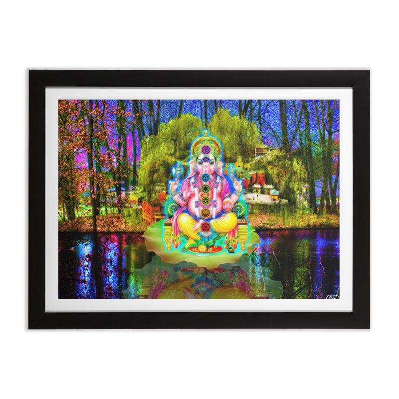 Lord Ganesha Meditating on a Lilly Pad with Willow Tree Home Framed Fine Art Print by InspiredPsychedelics's Artist Shop
