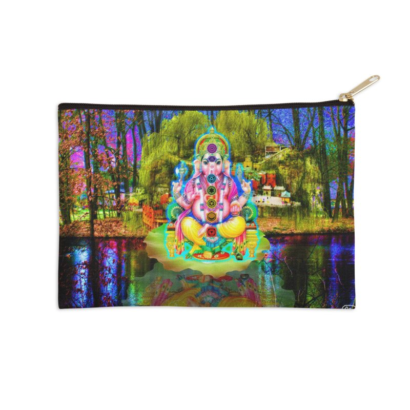 Lord Ganesha Meditating on a Lilly Pad with Willow Tree Accessories Zip Pouch by InspiredPsychedelics's Artist Shop