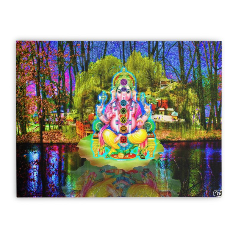 Lord Ganesha Meditating on a Lilly Pad with Willow Tree Home Stretched Canvas by InspiredPsychedelics's Artist Shop