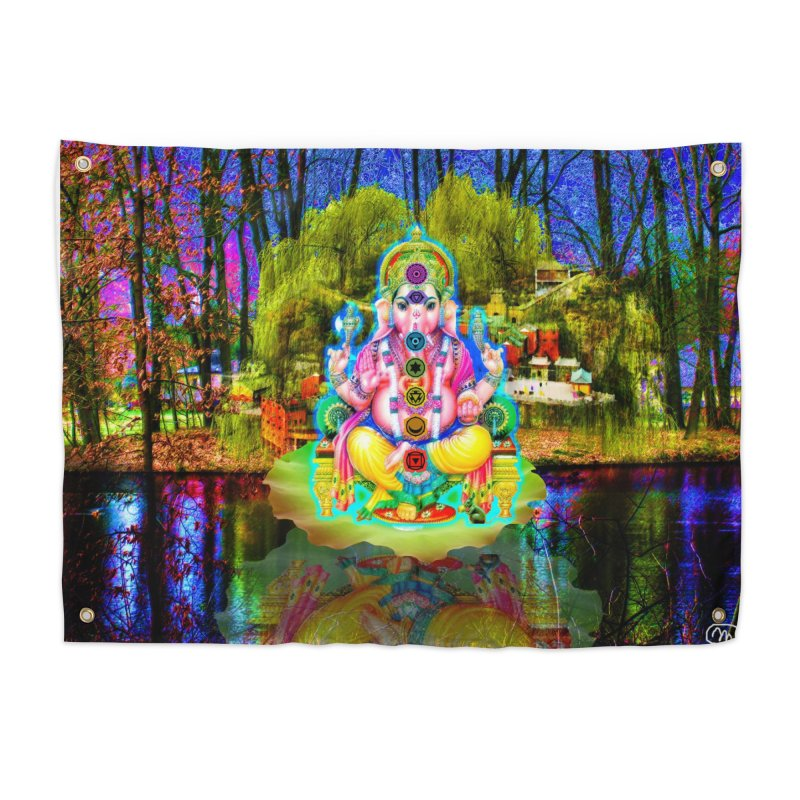 Lord Ganesha Meditating on a Lilly Pad with Willow Tree Home Tapestry by InspiredPsychedelics's Artist Shop