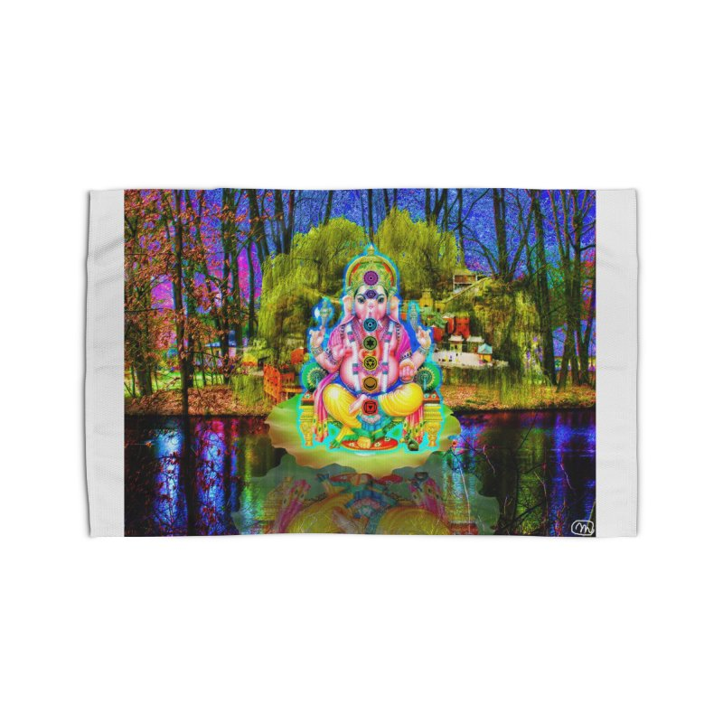 Lord Ganesha Meditating on a Lilly Pad with Willow Tree Home Rug by InspiredPsychedelics's Artist Shop