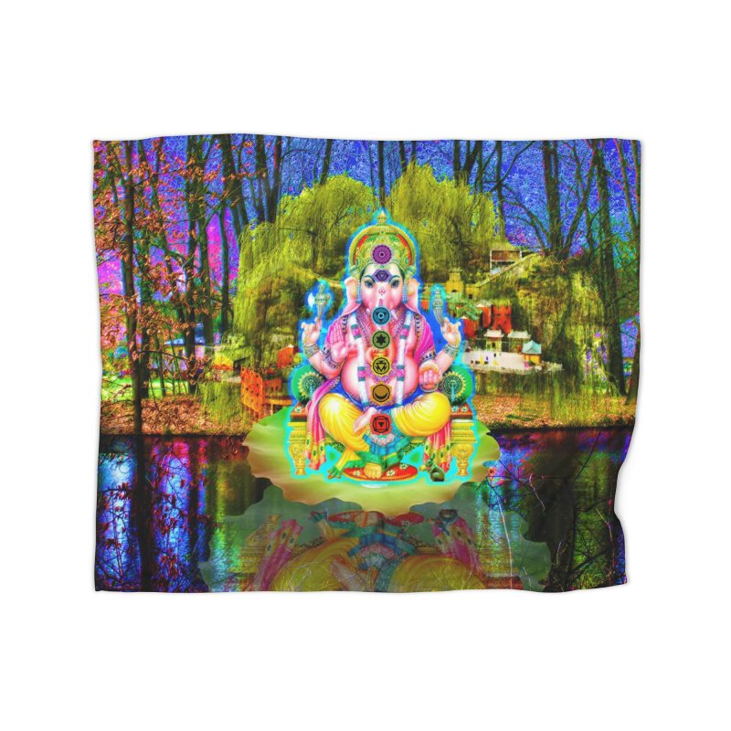 Lord Ganesha Meditating on a Lilly Pad with Willow Tree Home Blanket by InspiredPsychedelics's Artist Shop